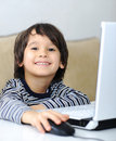 Childhood, laptop, learning Stock Images