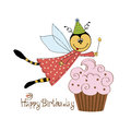 Childish birthday card with funny dressed bee Royalty Free Stock Images