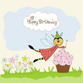 Childish birthday card with funny dressed bee Royalty Free Stock Image