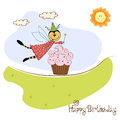 Childish birthday card with funny dressed bee Stock Photos