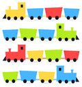 Childish cartoon colorful trains cute vehicles set vector illustration Royalty Free Stock Images