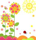Childish cartoon with floral abstract applique Royalty Free Stock Image