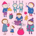 Childish christmas vector set in cartoon style doodle funny boys and girls Stock Photo