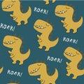 Childish dinosaur seamless pattern . vector illustration for t shirt, kids fashion, fabric