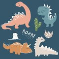 Childish dinosaur vector set for fashion clothes, fabric, t shirts. hand drawn vector with lettering
