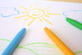 Childish drawing of sun cute by wax crayons and landscape Royalty Free Stock Images