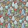 Childish funny Christmas wallpaper with seamless pattern with little angels, owl and snowman, snowy firs and trees, crescent, cand