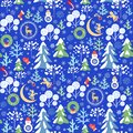 Childish funny Xmas blue wallpaper with seamless paper cutting pattern with snowy firs and trees, little angels and snowman, cresc