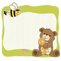 Childish greeting card with teddy bear and his toy Stock Image