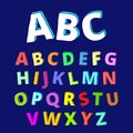 Childish hand drawn letters set of with various colors make it fun and attractive to use on different items especially kid s staff Royalty Free Stock Image