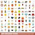 100 childish icons set, flat style