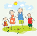 Childish looking drawing happy family Royalty Free Stock Image