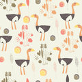 Childish seamless background with cute ostriches flowers and hearts in cartoon style Royalty Free Stock Photo