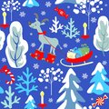 Childish seamless Christmas winter pattern with snowy firs, trees, reindeer, sleigh with presents, candle, candy, snowflakes on bl