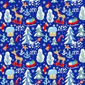 Childish seamless Christmas winter pattern with snowy firs, trees, reindeer, sleigh with presents, candy, sweets, jingle bell, sno