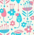 Childish seamless floral pattern vector Stock Image
