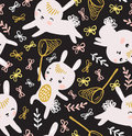 Childish seamless pattern with rabbits, butterflies and lawn.