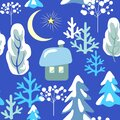 Childish seamless pattern with winter landscape with snowy firs, trees, little house, crescent, star on blue background. Winter ki