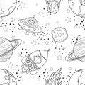 Childish seamless space pattern with planets, UFO