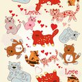 Childish seamless wallpaper pattern with cute and funny cats valentine s day kitties pink hearts Royalty Free Stock Image