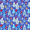 Childish seamless Christmas winter pattern with snowy firs, trees, owl, jingle bell, mitten, sock, candy and snowflakes on blue ba