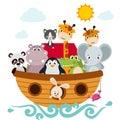 Childish style illustration of Noah`s ark
