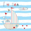 Childish vector illustration with sailboat and cat Royalty Free Stock Photo