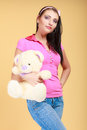 Childish woman infantile girl hugging teddy bear Royalty Free Stock Photography