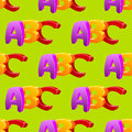Childlike doodle ABC seamless pattern, flat design Royalty Free Stock Photo