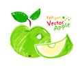 Childlike drawing of apple vector felt pen Royalty Free Stock Images