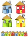 Childlike Drawings of Houses Royalty Free Stock Photo