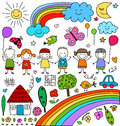 Childlike drawings set cute colorful elements Stock Photography