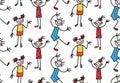 Childlike drawn characters girls kids seamless vector pattern Royalty Free Stock Photo