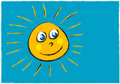 Childlike illustration of a smiling sun face Stock Images