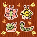 Childlike insect stickers set Royalty Free Stock Photos
