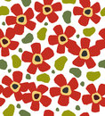 Childlike red flowers on the white background floral stylish paint pattern doodle template for design and decoration Royalty Free Stock Image