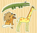 Childlike stickers with lion giraffe and crocodile Stock Image