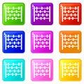 Children abacus icons 9 set
