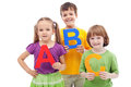 Children with abc letters Stock Photo