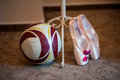 Children activities dancers shoes and a football ball boys and girls Royalty Free Stock Images