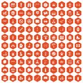 100 children activities icons hexagon orange