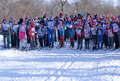 Children and adults at the start of the ski competitions.