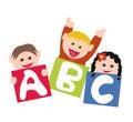 Children with alphabet blocks