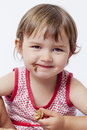 Children appetite and happiness for chocolate pastry young toddler happy to eat sweet food Royalty Free Stock Photo