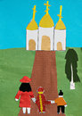 Children applique with church and family depicting the Royalty Free Stock Photography