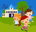Children approaching a haunted house on Halloween Royalty Free Stock Photo
