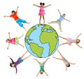 Children with Arms Raised and Earth Symbol Royalty Free Stock Photo