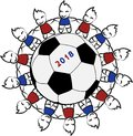 stock image of  Children around a soccer ball