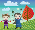 Children and autumn Stock Photography