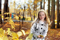 Children in autumn park happy Stock Photo